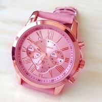 Sannysis Woman Roman Numerals Faux Leather Analog Quartz Wrist Watch pink