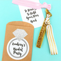 1 Set of 2, 3 or 4 Hair Ties Bachelorette Party Favors Accessories Small Gift Bridesmaids Pocket Floral Gold Glitter To Have and To Hold
