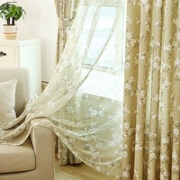 Cotton Linen Blackout Curtains For Living Room Pastoral Style Plum Home Decor Drapes Organza Flower Sheer 1PCS