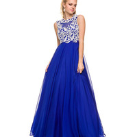 Preorder -  Royal Sheer Open Back Lace Gown Prom 2015