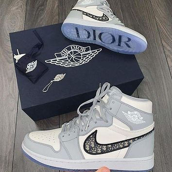 NIKE*DIOR Air Jordan 1 AJ1 High top sports running shoes