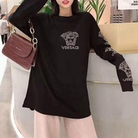 """Valentino"" Woman Leisure Fashion Wild Letter Drill Hot Stamping Printing Round Neck Loose Long Sleeve Tops T-Shirt Skirt"