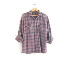 Vintage boyfriend flannel / pink purple striped shirt / grunge shirt / tomboy shirt