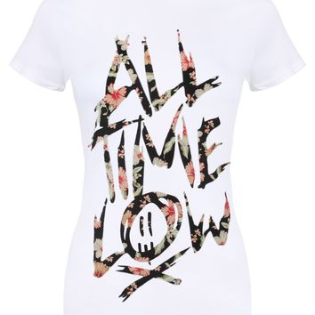 All Time Low Floral Ladies White T-Shirt