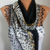Scarf Shawl  -  Cotton Weddings Scarves -  Cowl  with  Lace Edge - Black