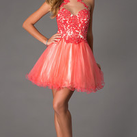 Short Embroidered Fit and Flare Prom Dress
