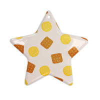 "Strawberringo ""Do You Love Biscuits?"" Brown Yellow Ceramic Star Ornament"