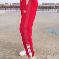ADIDAS New Fashion Long Line Silde Edge Women Men Print Long Pants Women Men Trouser Red