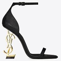 YSL Yves Saint Laurent Fashion Women Sexy Letter High Heels Shoes Sandals 2#