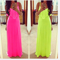 Fashion Solid Color Spaghetti Strap Maxi Dress = 4765110212