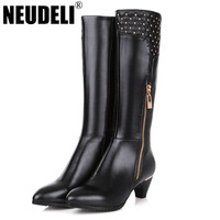 Winter Genuine Leather Women Boots Plus Size 40-43 Woman Knee High Boots Low Heels Ladies Shoes Woman Martin Boots