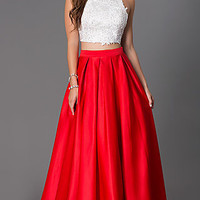 Floor Length Two Piece Spaghetti Strap Dress by Dave and Johnny