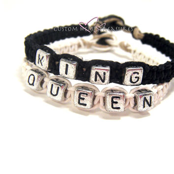 King Queen Bracelets for couples Black and White Hemp , Anniversary Gift