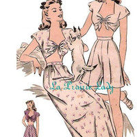 Repro Vintage Pattern Pajama or Playsuit 40s No1 on Printable PDF B34
