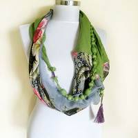 Infinity scarf, Accessories for Women, Scarves, Woman , Fashion Scarf, Fashion Accessories, Green, Gray, and More Colors, Unique Design