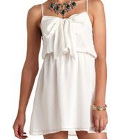Bow-Front Chiffon Dress by Charlotte Russe - Ivory
