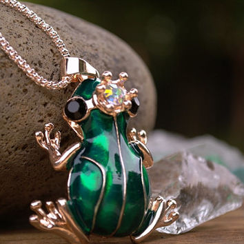 Frog Prince Necklace, Large Green Frog Pendant on Long Chain, Rose Gold Finish, Aurora Borealis Crystal on Crown, Bullfrog Toad Necklace