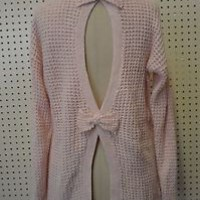 NEW without tags PINK sweater BOWS medium BETHANY MOTA womens girls