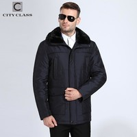 New Men Thick Warm Jackets  Slim Fit Long Camels Hairs Removable Mink Collar Hooded Coats