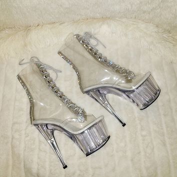 """Adore 1021C Clear  Ankle Boots With Rhinestone Trim 7"""" Heels"""
