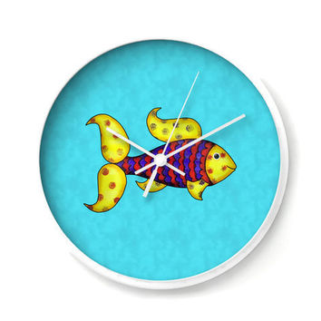 Colorful Fish Nautical Wall Clock