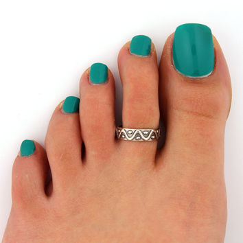 sterling silver Toe ring Dot and Zigzag design Toe ring adjustable midi ring (T-57) Also knuckle ring