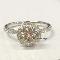 Round Moissanite Engagement Ring Pave Diamond Wedding 14K White Gold 7mm