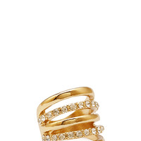 FOREVER 21 Cutout Rhinestone Ring Gold/Clear