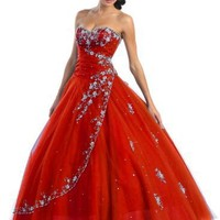Ball Gown Formal Prom Wedding Dress #586 (12, Red)