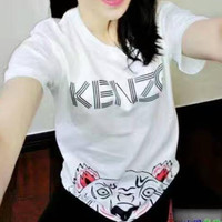 KENZO print short sleeve tee top T-shirt H-YF-MLBKS