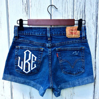 Levi's High Waisted Cut Off Denim Jean Shorts - with Monogrammed Pocket - Sizes US 0 - 20 Womens