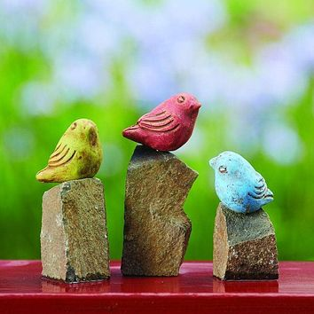 Mini Birds On Rocks Stone Statues, Assorted Colors - Set of 3 - Happy Gardens