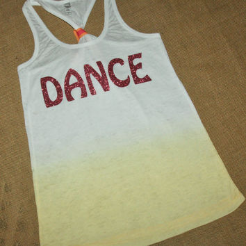 Dance. Glitter Writing. Bow. Tank top. Racerback. Size S-2XL. Burnout. Black. Exercise. Soft. Women. Workout. Fitness.