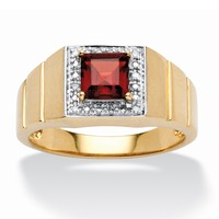 Men's 1.35 TCW Square-Cut Garnet and Diamond Accent Ring in 10k Gold