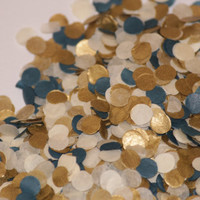 Tissue Paper Confetti, navy, gold and ivory, wedding, bridal shower, table decoration, push pop filler, birthday party