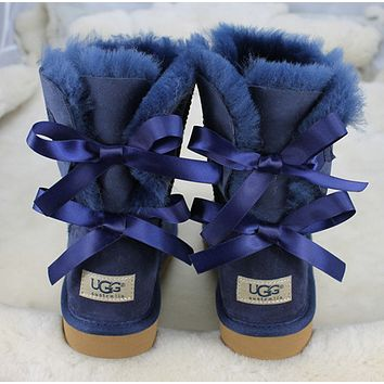 UGG:: bow leather boots boots in tube-5