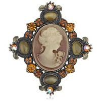 Vintage Victorian Synthetic Topaz Cat Eye Cameo Maid Profile Pendant Pin Brooch