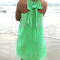 Green Sleeveless Mini Dress with Ribbon