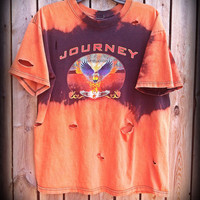 Bleached, tie dyed unisex Journey shirt size medium ...one of a kind t shirt