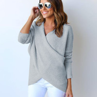 Irregular Knitting Sweater Women Knitted Sweaters V Neck Long Sleeve Cross Wrap Front Warm Pullover GV394