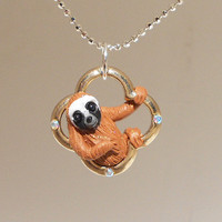 """fanART- """"Lucky sloths hang around"""" (gold)-unique sloth, gift for her, cool gift for teenager, easter gift, st. patrick's day"""