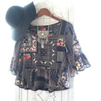 Bohemian gypsy festival crop top, Boho chic clothes, Romantic ruffle, Spring break, Patchwork Hippie chic smock top  True rebel clothing S