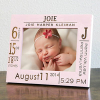 Personalized Birth Announcement Picture Frame w/ stats-Baby Name-Wood Engraved-Color of Your Choice