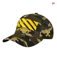 Off White New fashion embroidery letter arrow camouflage couple cap hat 3#
