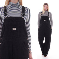 90s Black Corduroy Overalls Baggy Casual Fit Hipster Grunge 1990's Vintage Clothing Womens Size Large