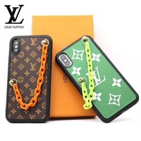 LV Louis Vuitton Fashion New Monogram Print Leather Chain Protective Cover Phone Case