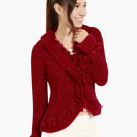 Red Long Sleeve Ruffled Knitted Sweater