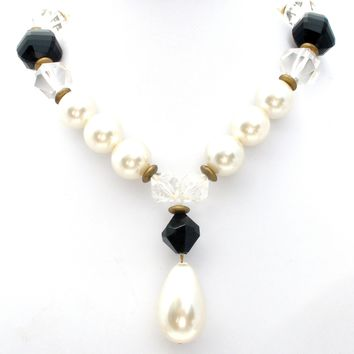 Couture Black & White Pearl Bead Necklace Vintage