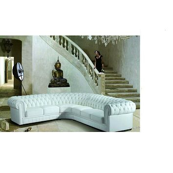 Complementary Sculpted Luxurious Tufted Leather Sectional Sofa Set