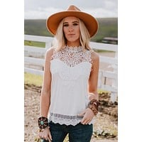 Clyde Sleeveless Lace Top - Cream